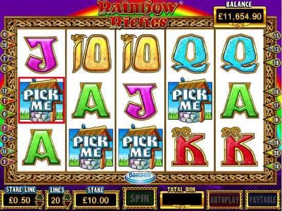 the rainbow riches wishing well bonus round