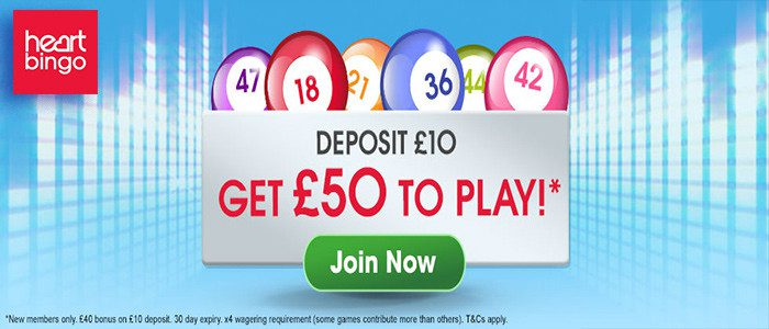 heartbingo deposit £10 get £50 to play