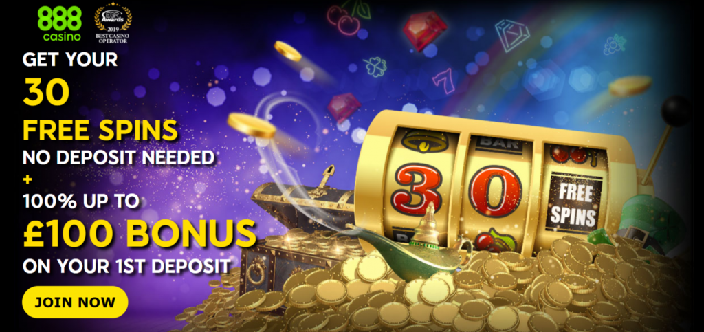 Play 888 Casino with 30 Free Spins No Deposit Needed & £100 Bonus
