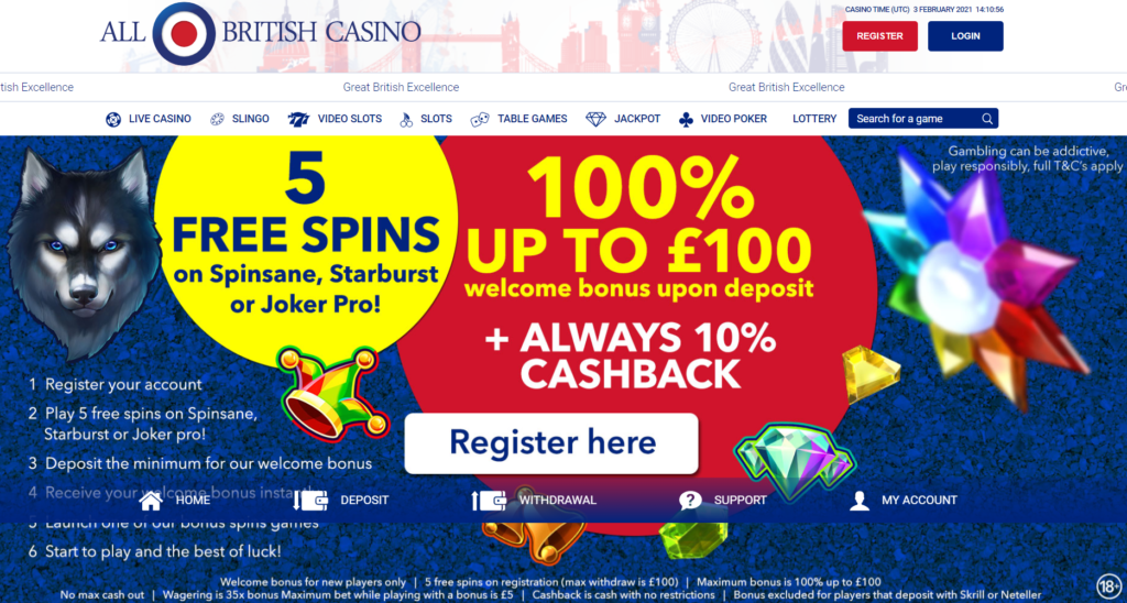 All British Casino Review 5 No Deposit Free Spins